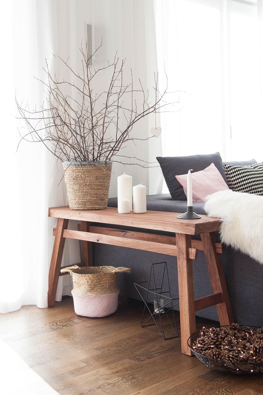 Holzbank Wohnzimmer