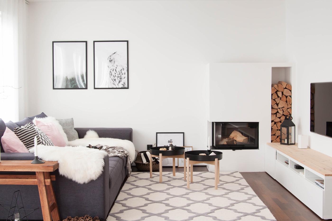 Wohnzimmer Eckkamin Hausbau