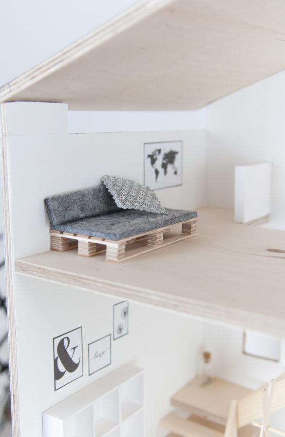 DIY Puppenhausmöbel Palettensofa