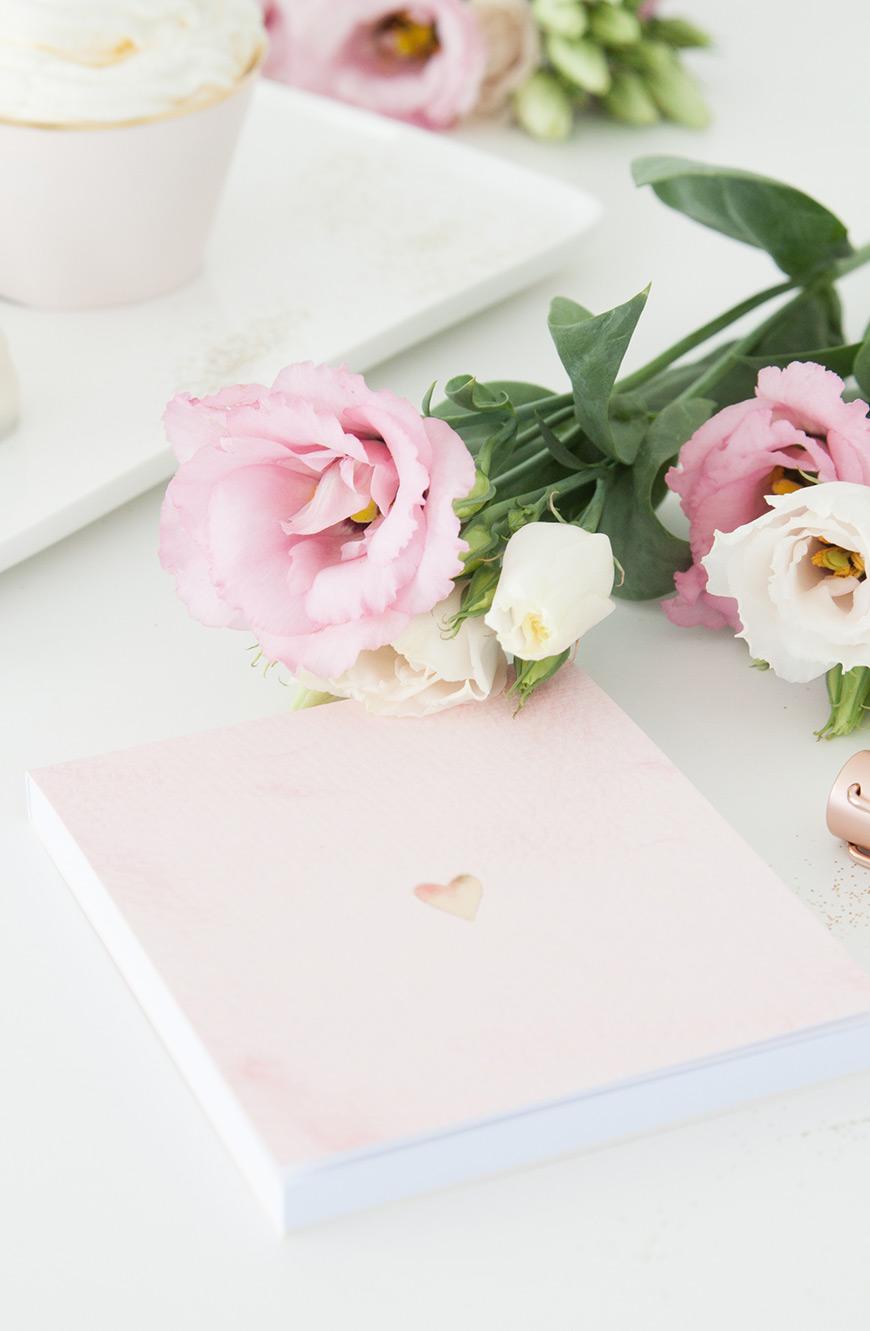 Papeterie rosa mit Herz