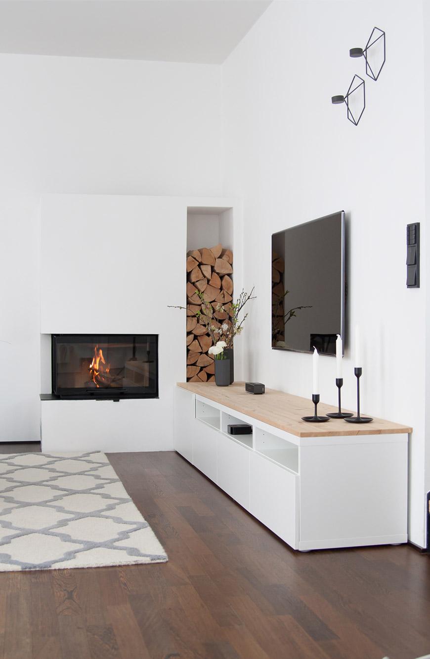 Wohnzimmer Kamin Dekoration Sideboard