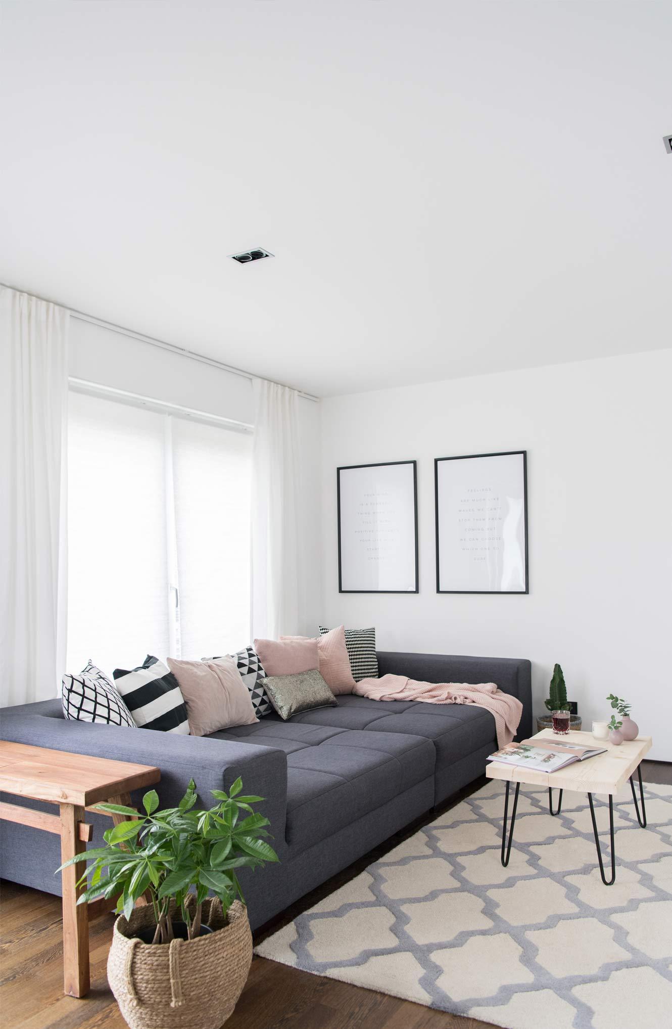 XL Sofa anthrazit Wohnzimmer Grünpflanzen