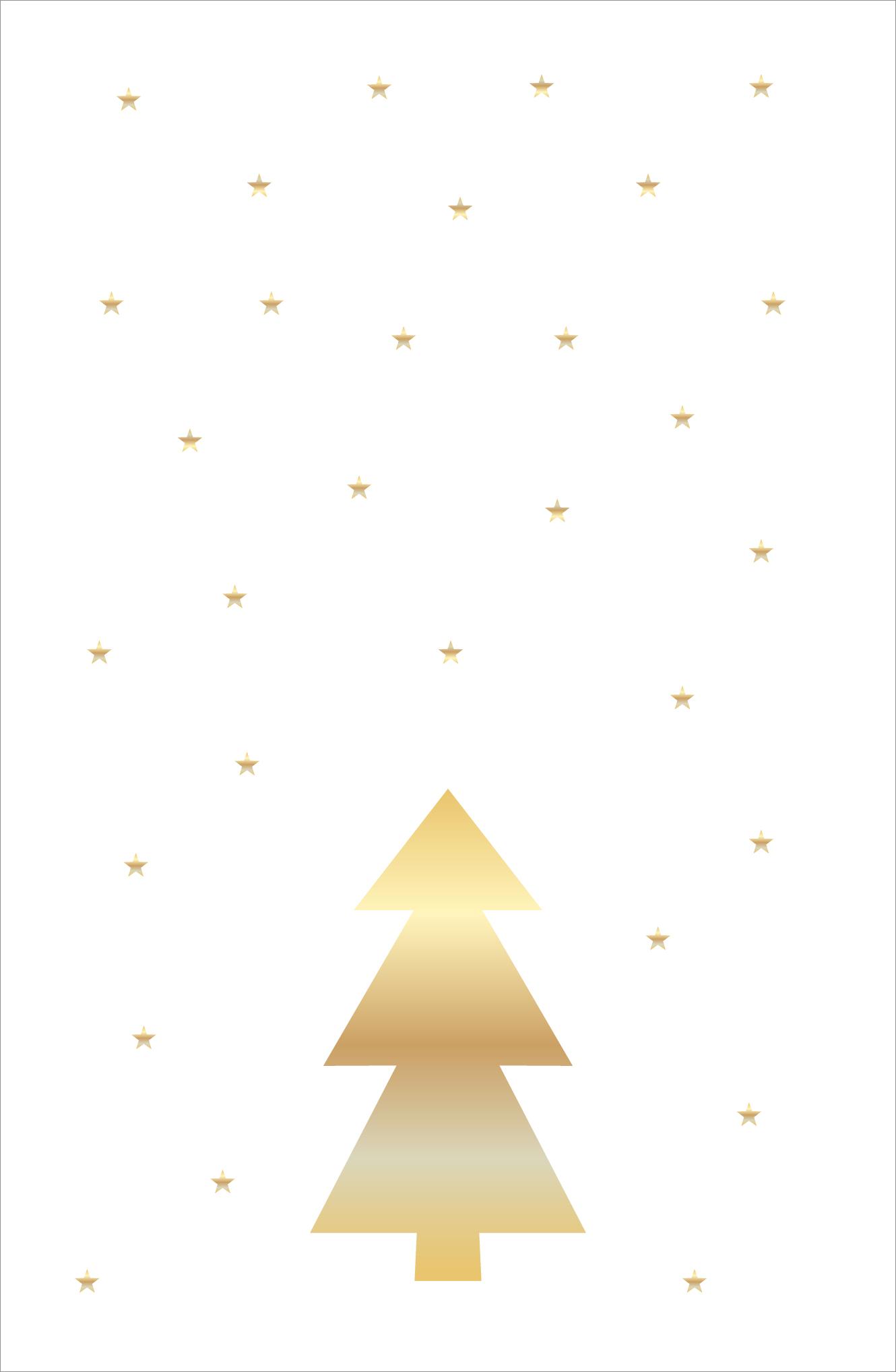 Weihnachtskarte Tannenbaum weiß gold