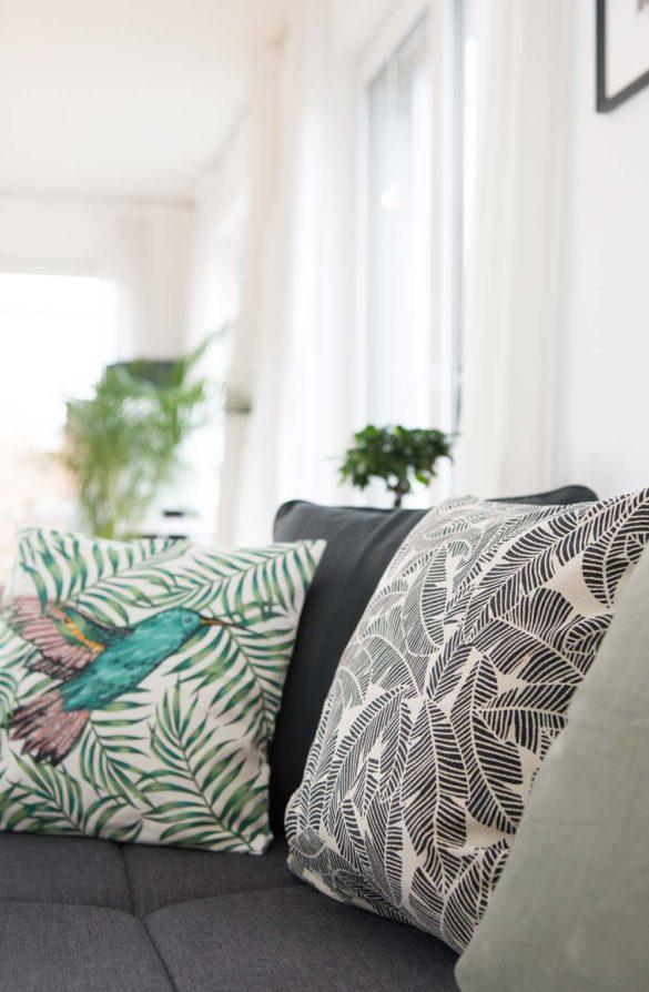 Sofa Kissen grün, Kolibri, Tropisch