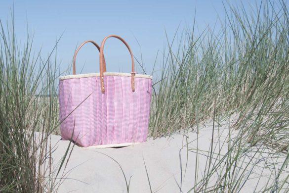 Korbtasche von Rice in rosa mit Vichy Muster